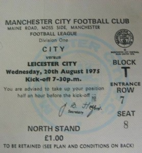 leicester home 1975 to 76 ticket