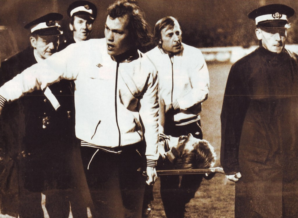 man united league cup 1975 to 76 bell carried off