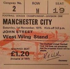 sheff utd away 1975 to 76 ticket