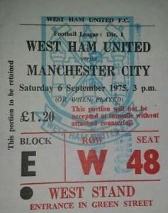 west ham away 1975 to 76 ticket