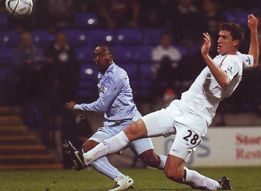 bolton away carling cup 2007 to 08 vassell action