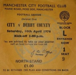 derby home 1975 to 76 ticket