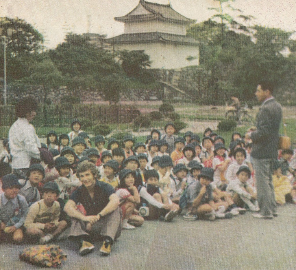 jap tour 1975 to 76 mick Docherty with Japanese school children at the imperial temple