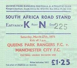 qpr away 1975 to 76 ticket