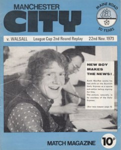 City v Walsall League Cup 2nd Round Replay 1973 to 74 prog