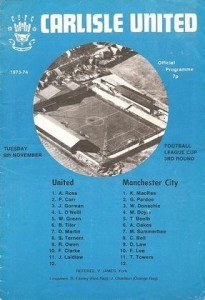 carlisle away league cup 1973 to 74 prog