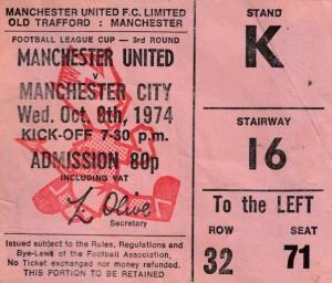 man utd away lge cup 1974 to 75 ticket
