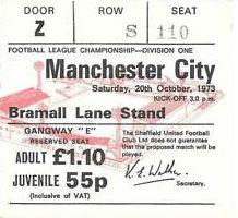 sheff U away 1973 to 74 ticket