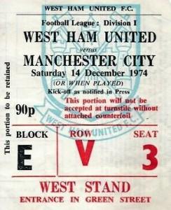 west ham away 1974 to 75 ticket