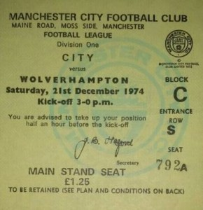 wolves home 1974 to 75 ticket