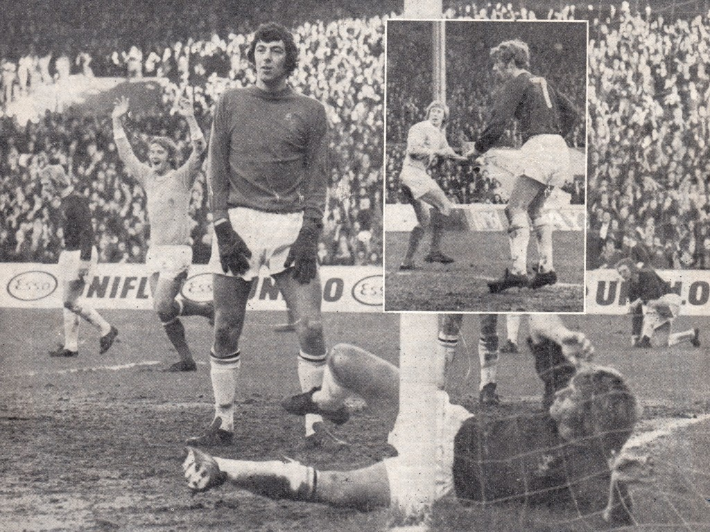 burnley home 1973 to 74 action bell goal