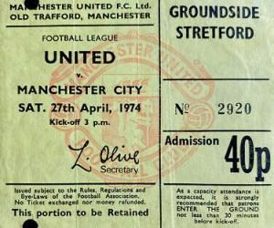 man utd away 1973 to 74 ticket
