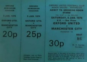 oxford away fa cup 1973 to 74 ticket