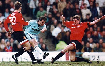 man utd home 1995 to 96 rosler goal