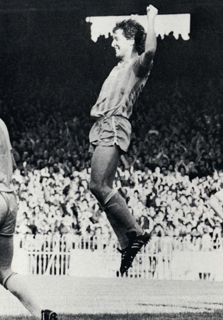 blackburn 1983 to 84 parlane celebrates hattrick