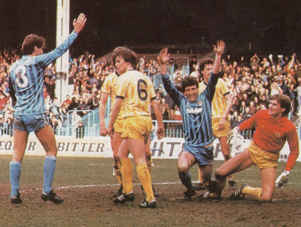cardiff home 1983 to 84 johnson goal 3