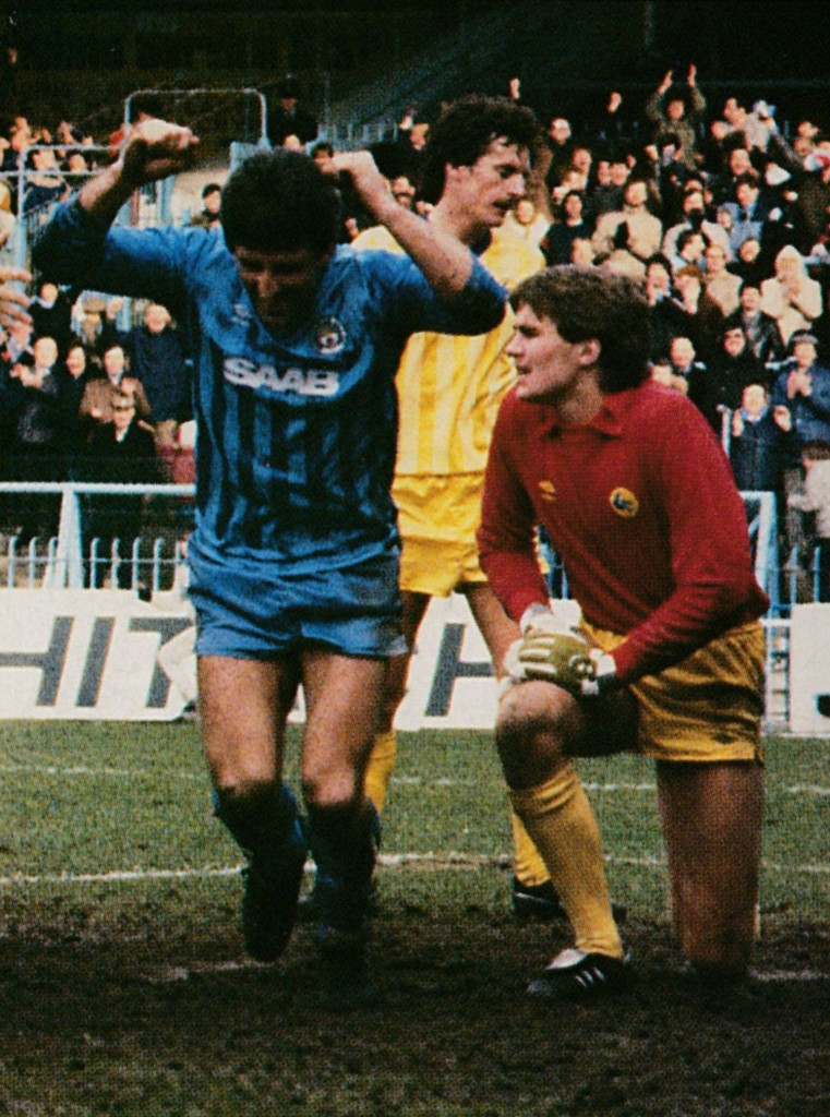 cardiff home 1983 to 84 johnson goal 5