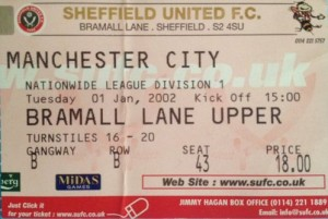 Sheffield utd away 2001 to 02 ticket