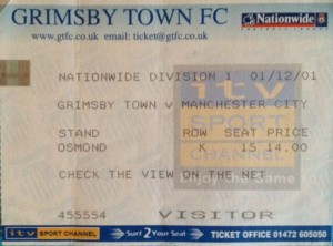 grimsby away 2001 to 02 ticket
