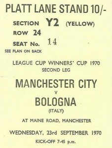 bologne home 1970 to 71 ticket