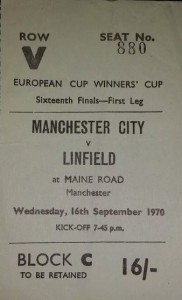 linfield home 1970-71 ticket