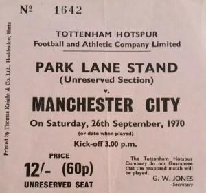 tottenham away 1970 to 71 ticket