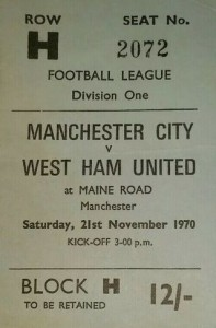 whu home 1970-71 home ticket