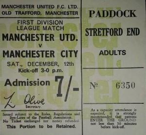 man utd away 1970 to 71 ticket