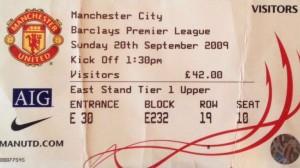 man utd away 2009 to 10 ticket