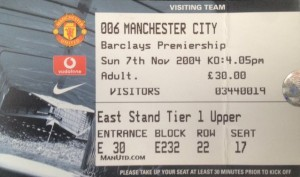 man utd away 2004 to 05 ticket