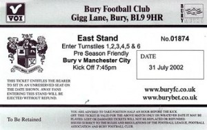 bury friendly 2002 to 03 ticket