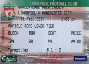 liverpool away 2003 to 04 ticket