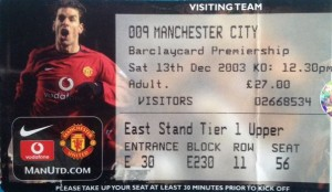 man utd away 2003 to 04 ticket
