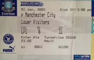everton away 2002 to 03 ticket