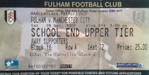 fulham away 2002 to 03 ticket