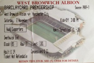 west brom away 2002 to 03 ticket