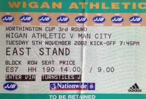 wigan away worthington cup 2002 to 03 ticket