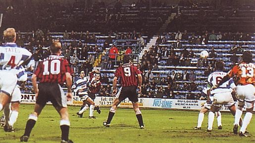 qpr cola cup 1994 to 95 beagrie goal