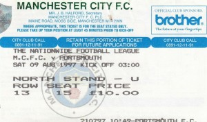 portsmouth home 1997 to 98 ticket