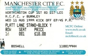 burnley worthington cup home 1998 to 99 ticket