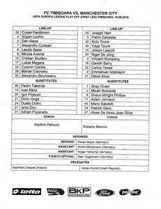 timisoara away 2010 to 11 teamsheet