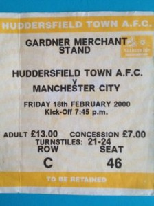 huddersfield away 1999 to 2000 ticket