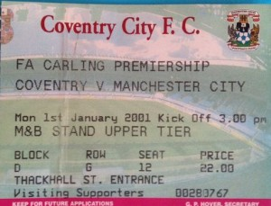 coventry away 2000 to 01 ticket