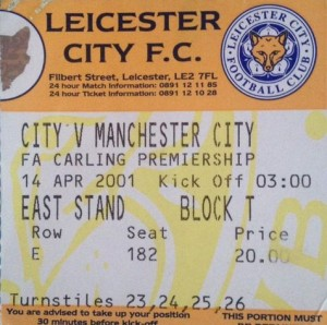 leicester away 2000 to 01 ticket