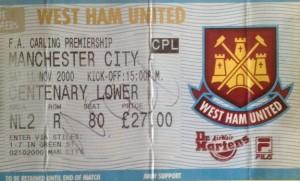 west ham away 2000 to 01 ticket