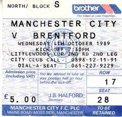brentford home 1989 to 90 ticket