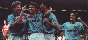 man utd home 1989 to 90 hinchliffe goal celeb