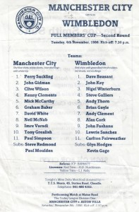 Wimbledon home Full Members Cup 2nd Rd 1986 to 87 prog