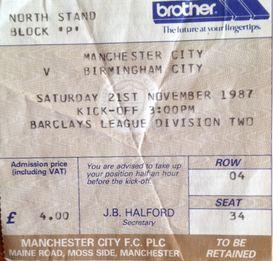 birmingham home 1987 to 88 ticket