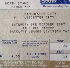 leicester home 1987 to 88 ticket